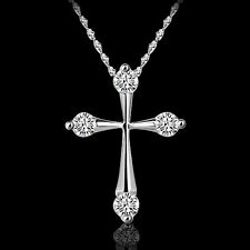 Women Silver Crystal Rhinestone Necklace Cross Design Gifts Pendant Q