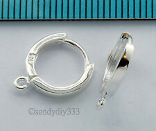 2x STERLING SILVER PLAIN ROUND HOOP EAR WIRE DANGLE EARWIRE 11mm EARRINGS #1031