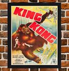 Framed King Kong Movie Poster A4 / A3 Size In Black / White Frame -