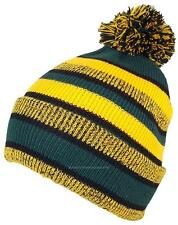 BWH Quality Striped Variegated Cuffed Beanie W/Large Pom #826 Dark Green/Gold