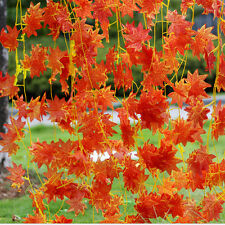 1X Artificial Red Autumn Maple Leaf Garland Vine For Wedding Party Home Decor FG