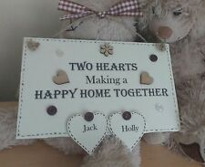 New Home Plaque Shabby Wooden Chic Couple Personalised