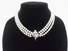 Antique 14k White Gold Pearl Diamond 3 Strand Necklace 64.1 grams