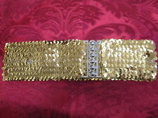LADY / GIRL ELASTICATED WIDE GOLD SEQUIN FASHION BUCKLE BELT SIZE M ( 12-14 )