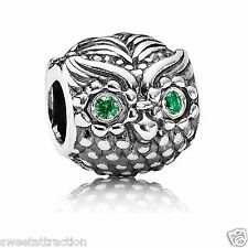 Authentic Pandora Charm 791211CZN Sterling Silver Wise Owl Box Included