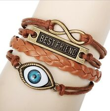 NEW Hot Infinity Love Anchor Leather Cute Charm Bracelet Bronze DIY SL143C