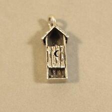 .925 Sterling Silver 3-D OUTHOUSE W PERSON CHARM Pendant Old West NEW 925 HB35