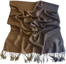 Grey Gold Two Tone Design Shawl Pashmina Scarf Wrap Stole Throw CJ Apparel *NEW*