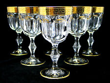 SET of 6 Italian Crystal Wine Water Glasses, 24K Gold Greek Key Trim, 8.5 Oz.