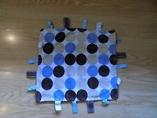 """Taggies Security Blanket Lovey Brown Blue Tan Circles Personalized """"GRADY"""" GUC"""