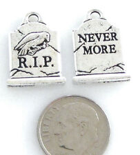 TierraCast Pewter HALLOWEEN Charms-ANTIQUE SILVER R.I.P. GRAVE STONE (2)