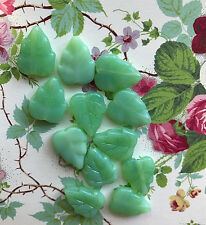 Vintage Leaf Beads,Czech Leaves, Glass Beads,Pressed glass, Jade Green NOS #697