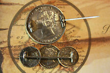 Newfoundland Victorian Love Token Coin Brooch Sterling Silver  Beautiful Quality