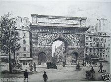 MASSE XIXe-XXe GRAVURE LA PORTE ST MARTIN vue sur Rue St Denis à Paris début XXe