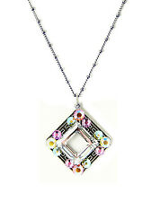 NWT ANNE KOPLIK  VINTAGE INSPIRED OPEN STONE PASTEL SWAROVSKI CRYSTAL NECKLACE