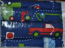 Flannel Full Sheet Set~Car~Truck~Street Sign~Blue~Green~Cotton~Double Bed~NEW