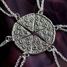6P Pizza Slice Silver Tone Best Friends BFF Friendship Family Necklace Pendant