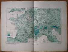 1877 Reclus map RAINFALL MAP OF FRANCE (#2)