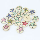 20 Mixed Star Pattern Wood Round Buttons 2 Holes Fit Sewing Scrapbook 20x20mm Z1