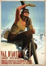 A3 Size - Val d'Aosta Skiing 1947 - Italy VINTAGE GIFT/ WALL DECOR PRINT POSTER