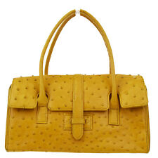 Auth Sanpo Logos Hand Tote Bag Single Flap Ostrich Skin Leather Ocher 03D013