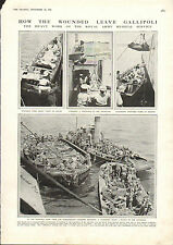 1915 WWI PRINT ~ GALLIPOLI ~ ROYAL ARMY MEDICAL SERVICE MOVING WOUNDED ON SHIPS