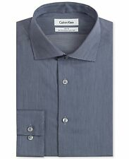 $175 CALVIN KLEIN Men SLIM-FIT BLUE WHITE STRIPE NON-IRON DRESS SHIRT 14.5 32/33