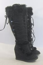 "new Blacks 3.5""high WEDGE HEEL sexy knee boots rabbit fur  on top  Size. 5"