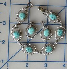 Vintage Sterling Silver Faux Turquoise Bracelet and Earrings VAN DELL