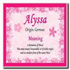 Alyssa Personalised Name Meaning Coaster