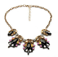 New Design Retro Crystal Drop Resin Flower Pendant Choker Statement Necklace
