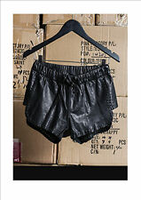 NEW ONE TEASPOON Genuine Leather Vagabond Shorts BLACK L AU12 RRP$229
