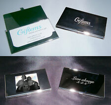 Personalised business card holder Photo/ logo and or text - free engraving -gift