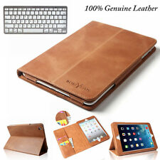 Genuine Leather Smart Case Cover Smart +Bluetooth Keyboard Case For iPad Mini 4