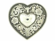 Clint Orms Rare Sterling .925 Silver Trophy Heart Buckle Longhorn & Flowers Love