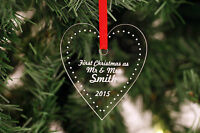 Personalised Christmas Heart Decorations - Keepsake Family Baby Mr & Mrs