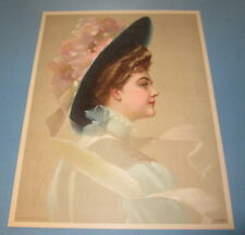 Old Vintage 1910 - Antique VICTORIAN PRINT - Fancy Lady with Blue Hat
