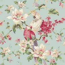 Wallpaper Designer Parrot & Cockatoo Tropical Magnolia Floral Blue Background