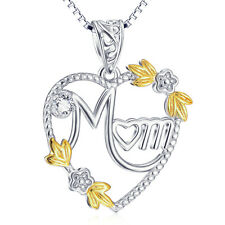 10k Gold Mom Heart Necklace Flower Floral 925 Sterling Silver Mothers' Day Gift