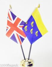 United Kingdom & West Sussex Double Friendship Table Flag Set