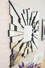 Large Wall Mirror Square Stunning Modern Venetian Sunburst Effect 3Ft 90cm