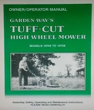 Garden Way Tuff-Cut High Wheel Field Lawn Mower Owner & Maint Repair Manual 40pg