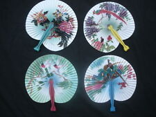12 FLORAL WHITE FOLDING PLEATED PAPER HAND FAN BIRTHDAY CHINESE JAPANESE PARTY
