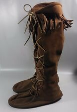 VINTAGE Women's Minnetonka Brown Leather Tall Fringe Moccasins Boots-USA MADE-8