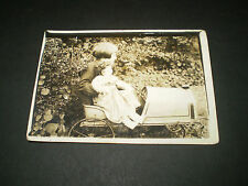social history 1920's girl in toy pedal car with china dol photograph 4x2.2'inch