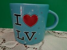 I Love LV Las Vegas Mug Half Coffee Cup Blue Hearts Love