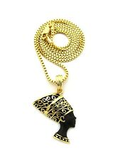 "NEW NEFERTITI PENDANT &2mm/24"" BOX CHAIN HIP HOP NECKLACE - XQP26BX"