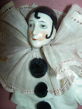 "Antique German china, ""Pierrot, Pierrette"" boudoir doll 8.5"" with pink boots"
