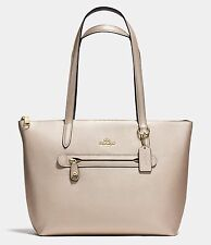 NWT $275 COACH Pebble Leather Taylor Zip Tote Bag Metallic Platinum Gold 38312