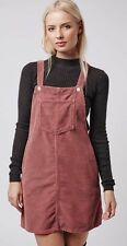 Topshop Moto Dusty Blossom Pink Cord Vtg Pinafore Dungarees Playsuit Dress 6 XS